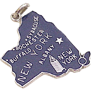 Vintage Sterling Silver U.S. State Charm, New York circa 1960's Blue Enamel