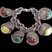Early NAPIER Chunky Oriental Charm Bracelet circa 1920-30's Silver Tone