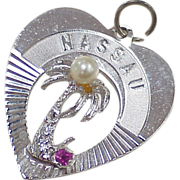Vintage Jeweled Sterling Silver Charm ~ Nassau (Bahamas) Faux Pearl & Ruby