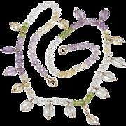 Faceted Gemstone Bead Necklace ~ Peridot, Citrine, Amethyst, Quartz & 14k Gold