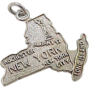 Vintage Sterling Silver US State Charm ~ New York