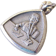 Vintage Occupation Charm Sterling Silver Secretary or Assistant on Telephone