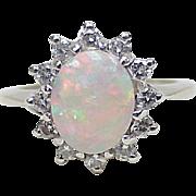 WOW Fiery Opal & Diamond Ring 14k White Gold circa 1960's