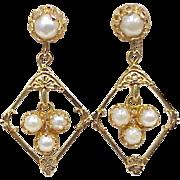 Victorian Revival Ornate Dangle Earrings 14k Gold & Cultured Pearl circa 1940's