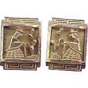 Peruvian Story Panel Earrings 14k Gold, Travel Souvenir, Handcrafted