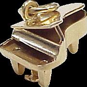 Vintage 14k Gold Music Charm, Grand Piano Three Dimensional circa 1950-60's