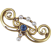 Victorian Watch PIN 14k Gold Sapphire, Diamond & Seed Pearl