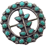 Vintage Native American Pendant / Pin Turquoise & Sterling Silver Circa 1930-40's