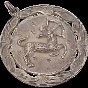 Vintage Zodiac Sagittarius Pendant Sterling Silver Plafina Mexico 1950-60's