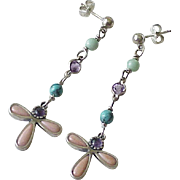 Estate South-West Long Dangle Earrings Sterling Silver & Colorful Gemstone