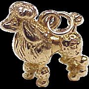 Vintage 14k Canine Charm, Poodle Dog circa 1960's,Three Dimensional