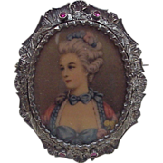 Edwardian Era Miniature Portrait Brooch Sterling Silver Frame With Ruby Accent