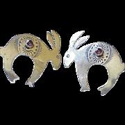 Vintage Native American Crafted Rabbit Earrings Sterling Silver & Garnet