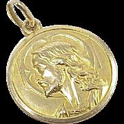 Vintage Religious Medalion Charm 18k Gold, God Protect You, Dio Ti Protegga