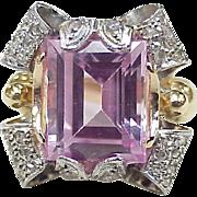 Retro Ring Pink Sapphire & Diamond 4.32 Carats Total Platinum & 14k Gold