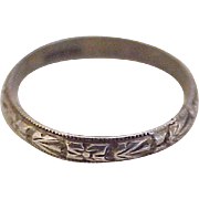 Vintage Floral Band / Ring Sterling Silver circa 1940's size 4.5