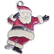 Vintage Christmas Charm , Sterling Silver Santa Claus With Enamel Accent