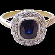 Edwardian Sapphire & Diamond Ring Platinum & 18K Gold 1.59 CTW