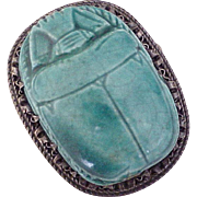 Art Deco Egyptian Revival Pendant / Brooch Sterling Silver Huge Faience Scarab Beetle
