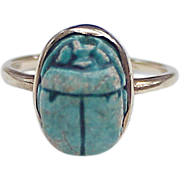 Vintage Egyptian Faience Scarab Amulet Ring 14k Gold circa 1940's