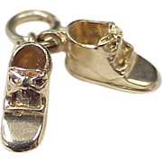 Vintage 14k Gold Baby Charm ~ Shoes, Booties ~ Three Dimensional