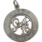 Vintage Sweet 16 Birthday Charm Sterling Silver by Danecraft circa 1960's