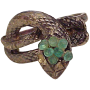 Unusual Vintage Snake Ring, Mexico Sterling Silver & Chrysoprase circa 1960's