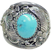 SOLD Vintage Navajo Ring Sterling Silver & Turquoise by Dorothy Spencer circa 1970's