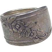 Vintage Wide Floral Sterling Silver Spoon Ring, Size 7, circa 1970's