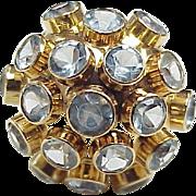 Vintage Mid Century Sputnik Ring 18k Gold Aquamarine 5.0+ Carats Total