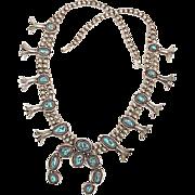 Navajo Squash Blossom Necklace Sterling Silver & Turquoise M Guerro circa 1970's