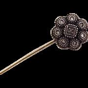 Victorian Stickpin Sterling Silver Top Rose Cut Diamonds & 14k Gold