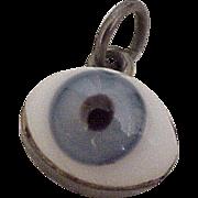 Vintage Evil Eye Protective Talisman Charm Sterling Silver & Glass Taxco circa 1950-60's