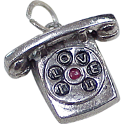 Vintage Sterling Silver Charm ~ Romantic Telephone, I Love U
