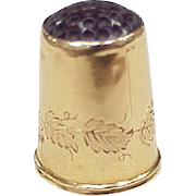 Antique Sewing Thimble 18k Gold With Glass Top