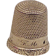 Edwardian Era Sewing Thimble Solid 10k Gold, Size 9, Simmons Bros