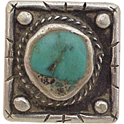 Vintage Navajo Crafted Gents Ring Sterling Silver & Turquoise circa 1970's