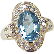 Vintage Ring London Blue Topaz & Diamond 6.12 Carats Total Gem Weight