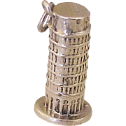 Vintage Leaning Tower of Pisa Charm Sterling Silver Three Dimensional circa 1960's