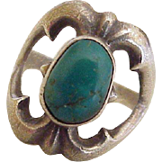 Vintage Native American Ring Tufa Cast Sterling Silver & Turquoise