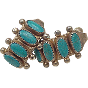 Native American Screw Back Sterling Silver Earrings With Turquoise circa 1970's