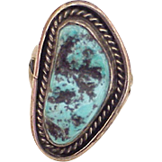Vintage Native American Crafted Ring Sterling Silver & Rough Turquoise