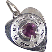 Vintage Sterling 'Be My Valentine' Heart Charm with Amethyst Accent Gemstone