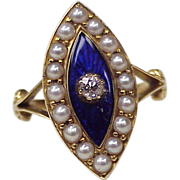 Victorian 18k Gold Mourning Ring Cobalt Blue Enamel Diamond & Seed Pearl