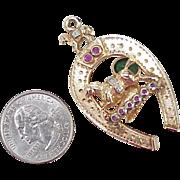 SALE BIG Victorian Jeweled Fob Charm ~ Equestrian, 14k Gold, Tsavorite, Ruby & Diamond