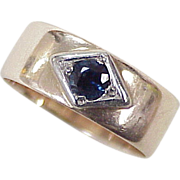 Victorian Sapphire Solitaire Wide Band Ring .34 Carat 10k Gold & Platinum