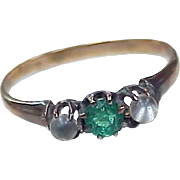 Victorian Moonstone & Faux Emerald Ring 10k Rose Gold