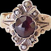 Victorian Era Ring Bohemian Garnet & Seed Pearl 10K Rose Gold