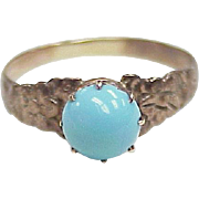 Victorian Ring 9k Gold Faux Persian Turquoise & Forget Me Not Floral Detail