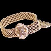 Victorian Mesh Slide Bracelet Gold Filled Seed Pearl Accent c.1880's